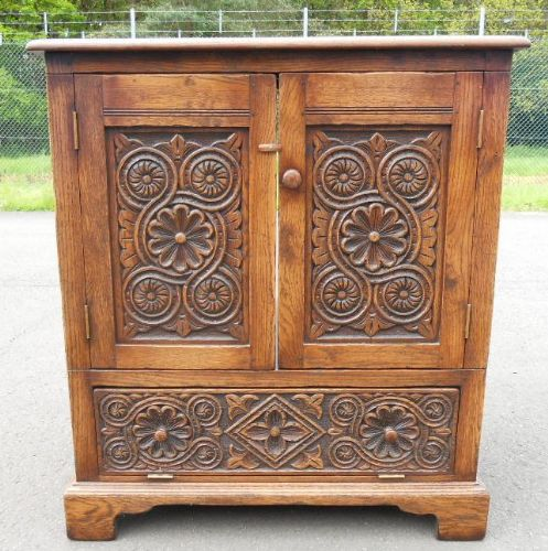 Carved Oak Television Cabinet